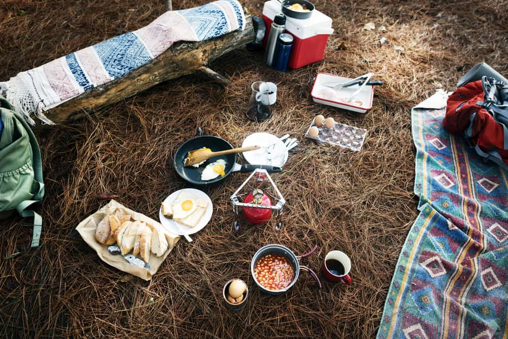 Food laid out on camping group that doesn't need to be refrigerated