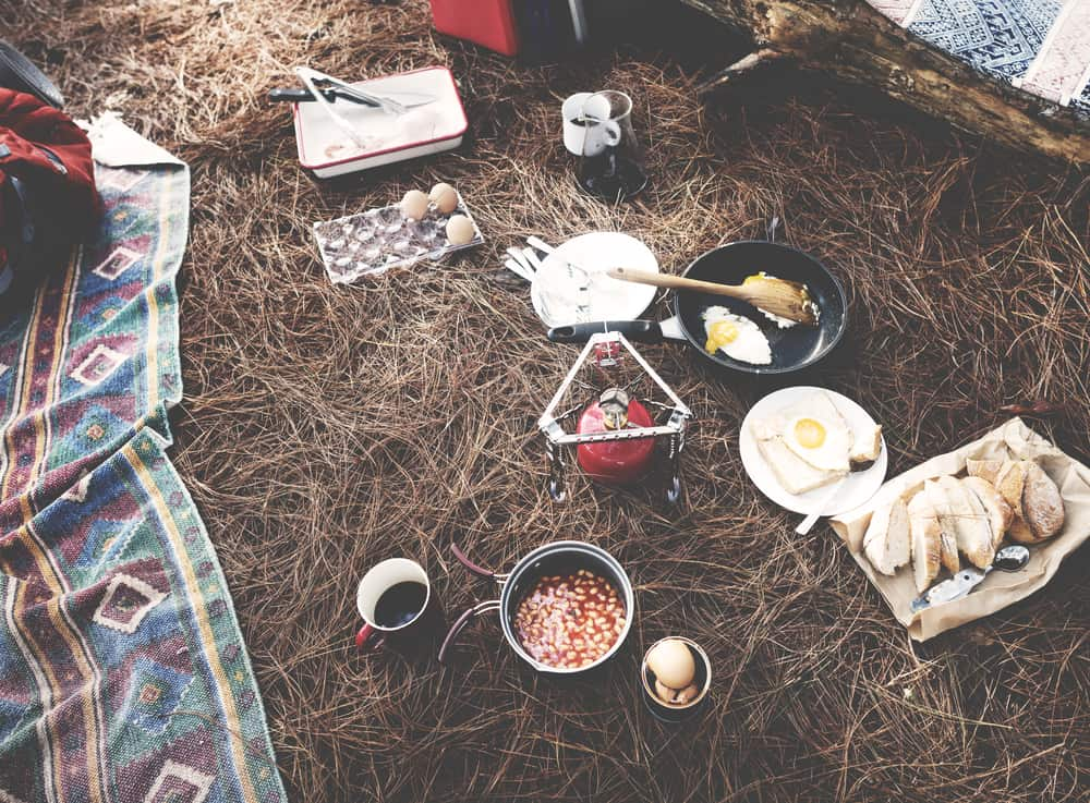 Non refrigerated Camping food laid out on ground