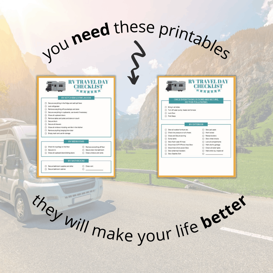 RV printables with driving rv in background