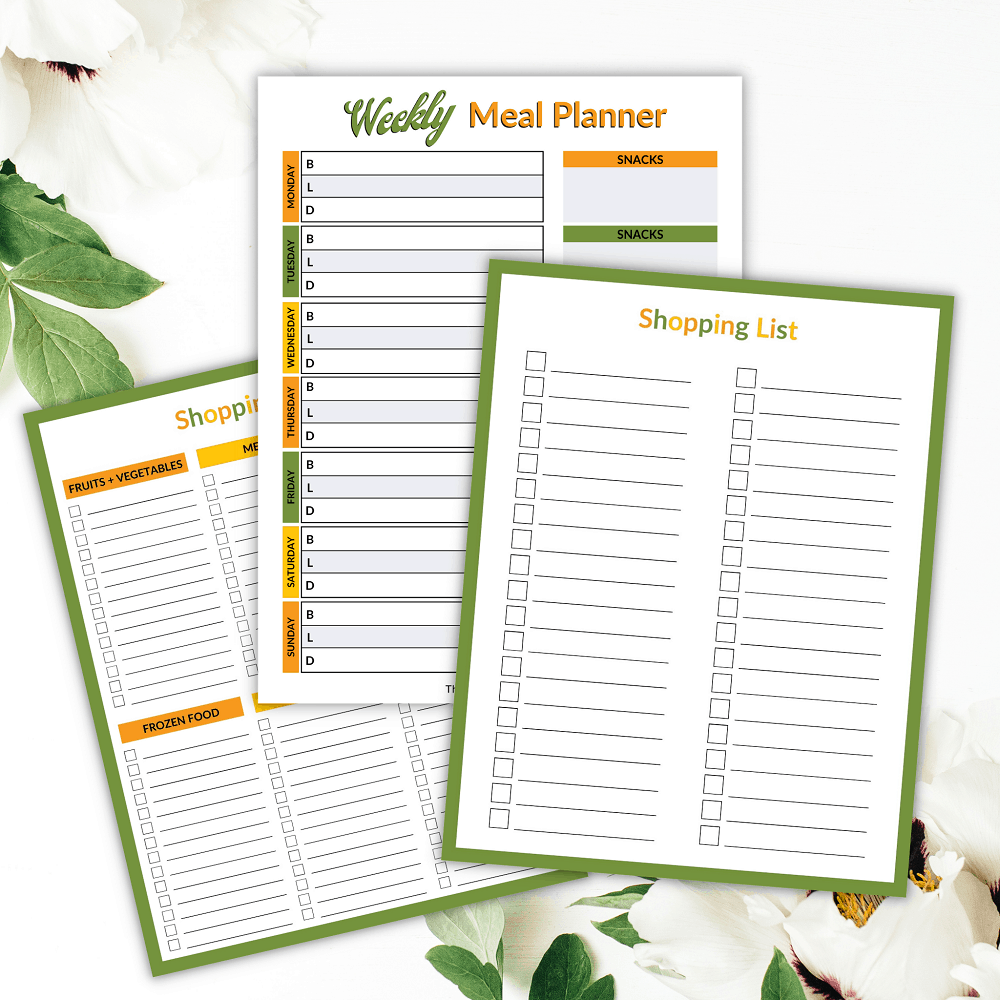 Pretty Camping meal plan template