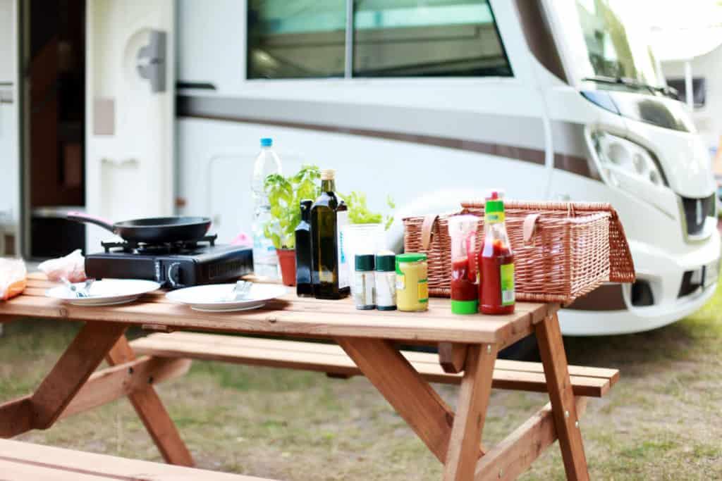Food set up outside an rv camper