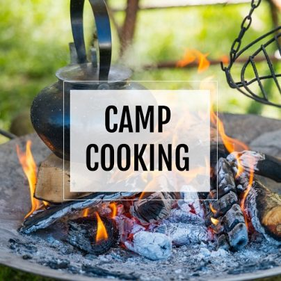 camp cooking button