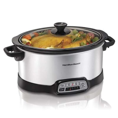 crock pot with chicken inside
